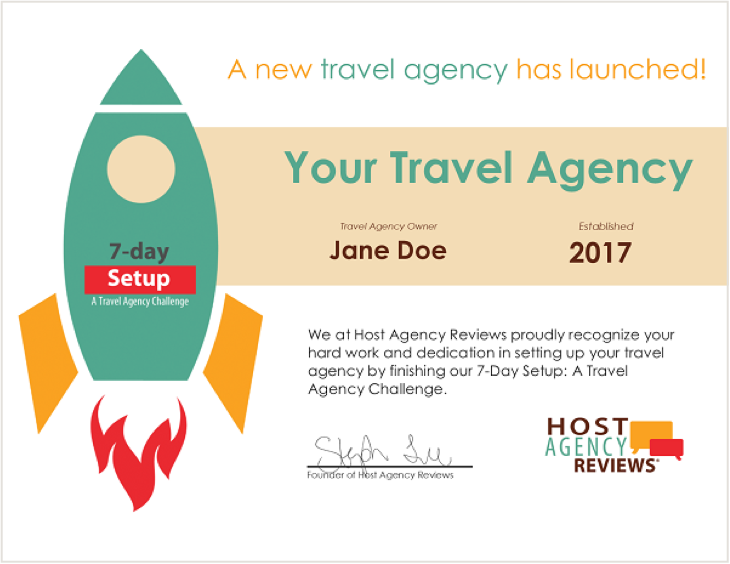 Host Agency Reviews Certificate example