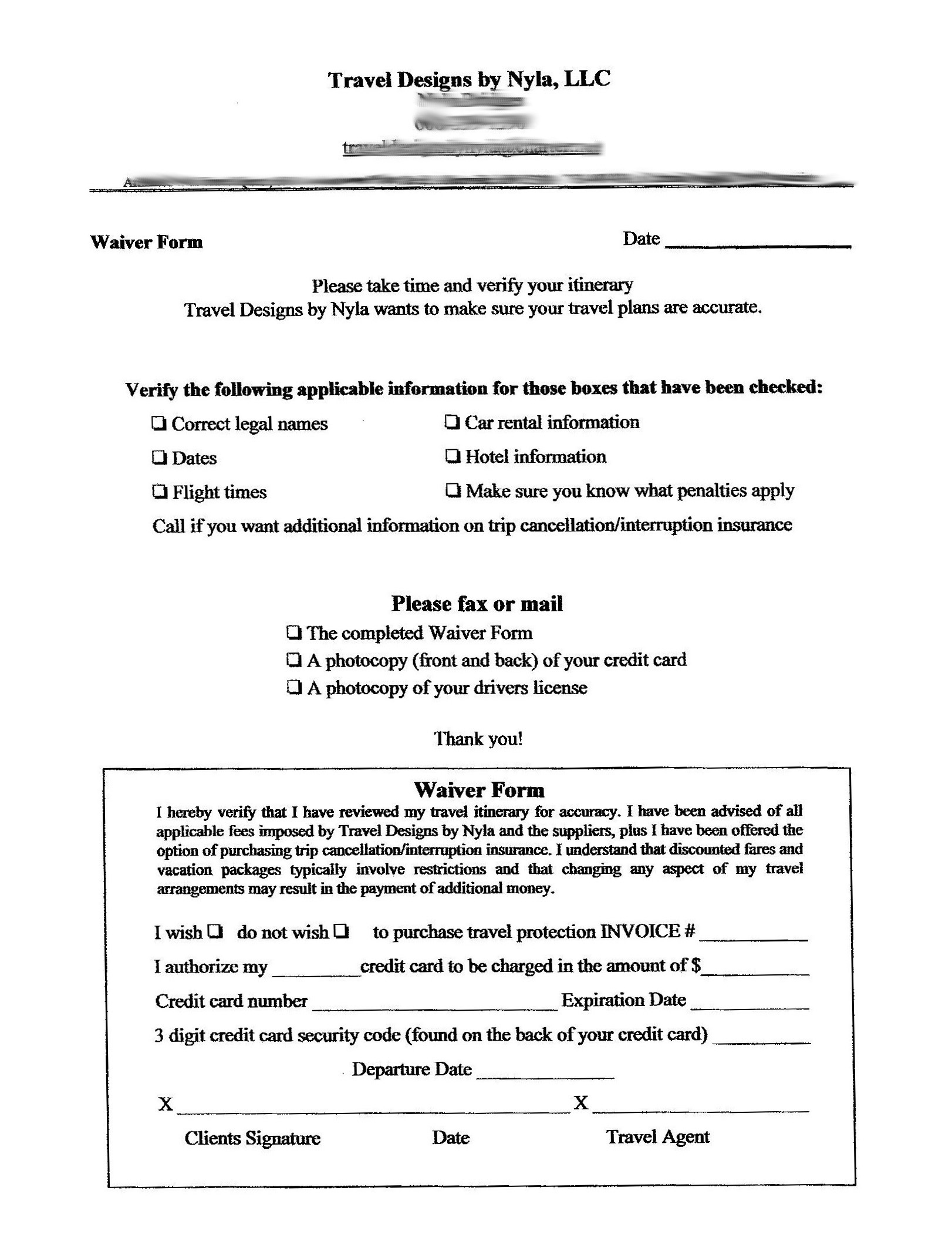 Online Travel Waiver Form